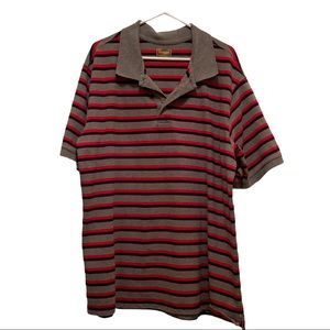 Foundry 2 XLT Gray/Red/Navy Striped Polo Shirt